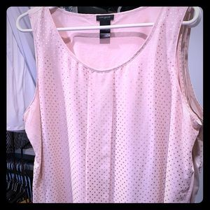 Pink shirt with gold polka dots